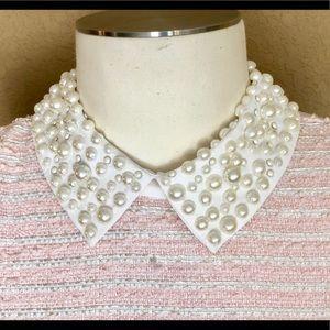 Dresses & Skirts - Pearl collar pink tweed mid length dress